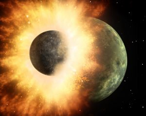 The planet Theia colliding with earth. Everything important that ever happened. History of the Universe.